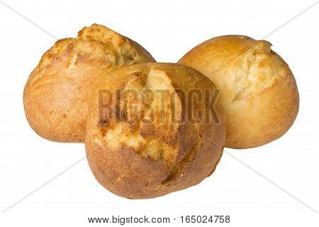 three baked cheese rolls on a white background