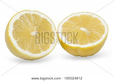 lemon cut on two parts on a white background