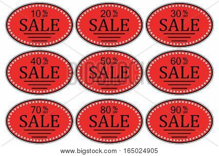 set of sale sticker for promotional goods, oval stickers for promotional goods with the indication of the percentage of price reduction sales, vector for black Frida