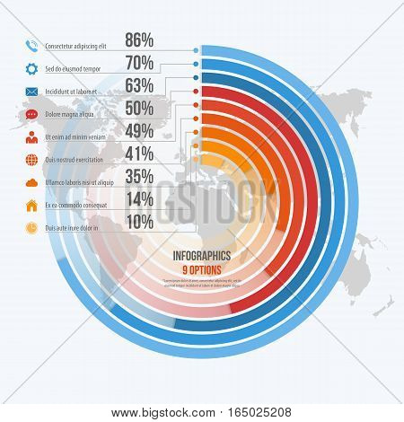 Vector Template For Circle Informative Infographics With 9 Options For Presentations, Advertising, L