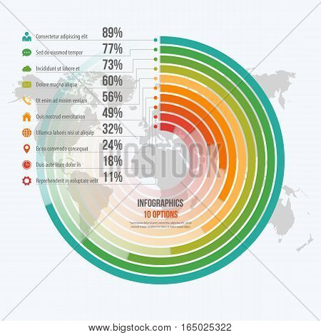Vector Template For Circle Informative Infographics With 10 Options For Presentations, Advertising,