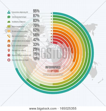 Vector Template For Circle Informative Infographics With 11 Options For Presentations, Advertising,
