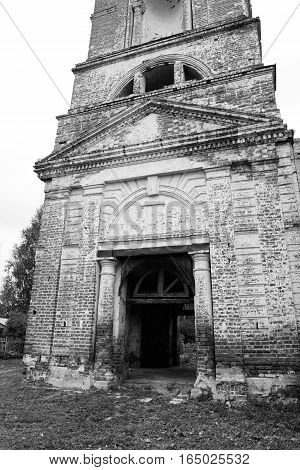 The destroyed Church of St. Nicholas in the village Priluki near Vologda Russia. Black and white.