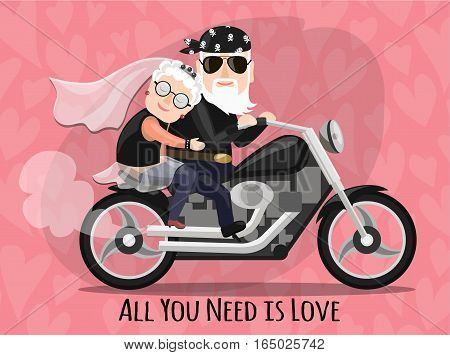 all you need is love. Lovers grandparents on a motorcycle. biker wedding