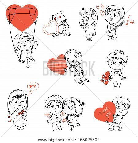 Shy little boy hiding behind a bouquet of flowers, draws with chalk heart, plays the banjo and sings a serenade, Little girl kissing boy on cheek, wonders for daisy, flying in a balloon. Coloring book
