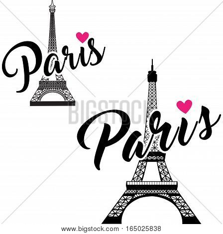 vector Eiffel Tower set. Simple Graphic Design for Paris. Vector illustration on white background. Elements for design.