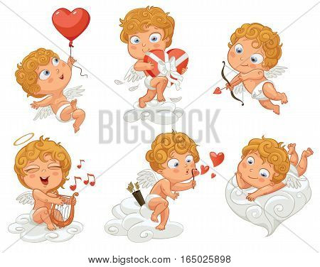 Cupid playfully lies on a cloud, flying in a balloon in the shape of heart, holding a box of chocolates, shoots a bow, playing music on the lyre, blow bubbles. Vector illustration. White background