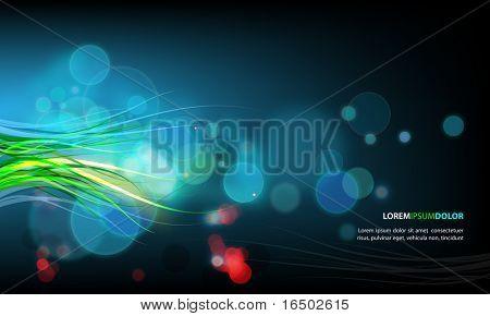 Soyut vektör arka plan - şeffaf ışıkları ve dalgalı bitki örtüsü süslemeleri