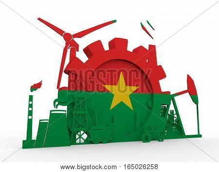 Energy and Power icons set with Burkina Faso flag. Sustainable energy generation and heavy industry. 3D rendering