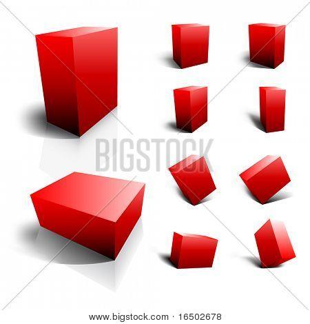 Leere Vektor 3D Boxen - rot-set