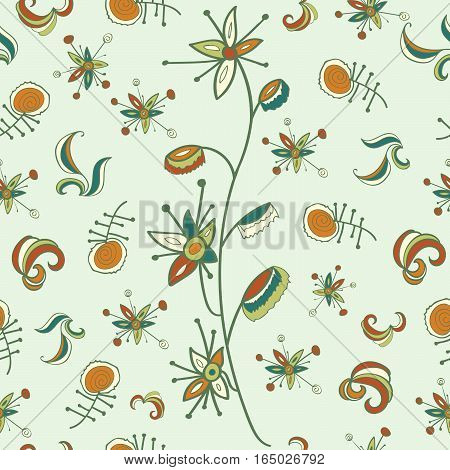 Seamless pattern with fantastic flowers and branch. Bright colors, green shades. Usable for wrapping, textile, paper.