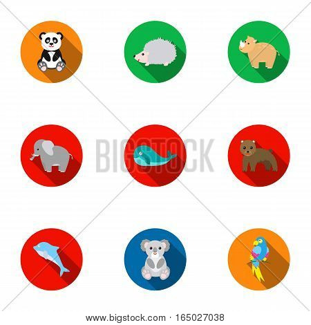 Animals set icons in flat style. Big collection of animals vector symbol stock