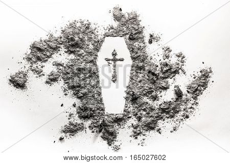 Coffin casket symbol with cross made in ash dust. Death concept