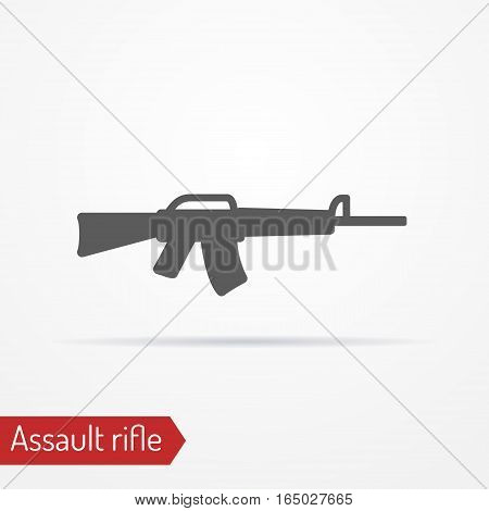 Abstract isolated assault rifle icon in silhouette style with shadow. Typical army weapon. Military vector stock image.