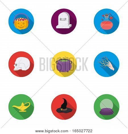 Black and white magic set icons in flat style. Big collection of black and white magic vector symbol stock