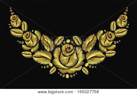Embroidery Flower Necklace Ornament Rose Luxery Vector Vintage Retro Gold