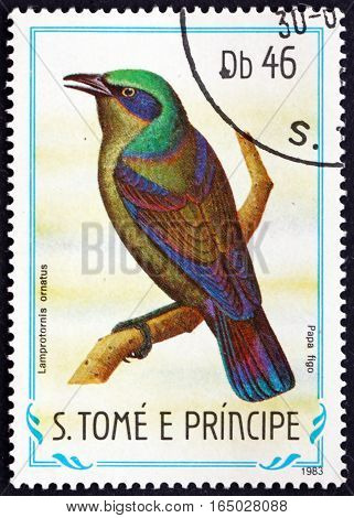 SAO TOME AND PRINCIPE - CIRCA 1983: a stamp printed in Sao Tome and Principe shows Principe Starling Lamprotornis Ornatus Endemic Bird circa 1983