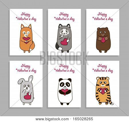 Set of vertical cards romantic, painted hand drawn for Valentine s Day. Cute animal lovers with smile, with heart in his hands, cat, bear, fox, rabbit, tiger and panda, vector illustration
