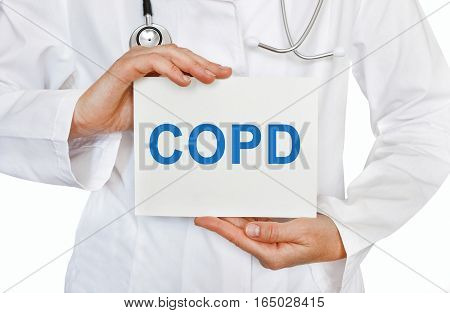 Copd Chronic Obstructive Pulmonary Disease , Card In Hands Of Medical Doctor