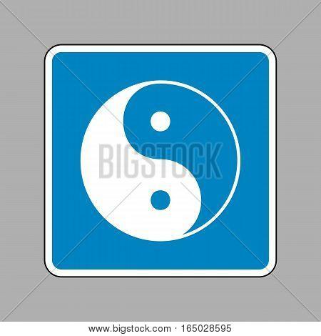 Ying yang symbol of harmony and balance. White icon on blue sign as background.