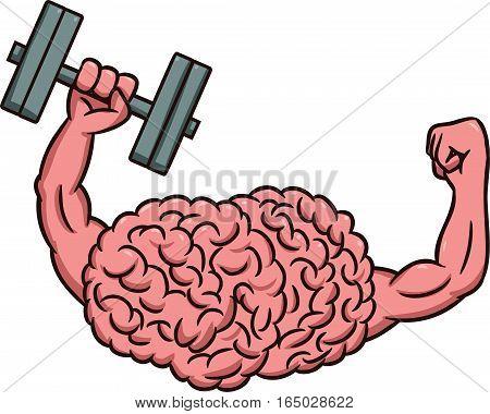 Strong Brain Lifting Dumbbells Cartoon Illustration Isolated on White