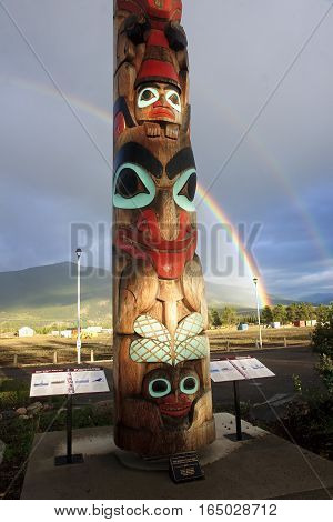 Jasper, Canada - September 8, 2016: Totem In The City Center On