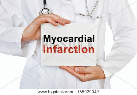 Myocardial Infarction Card In Hands Of Medical Doctor