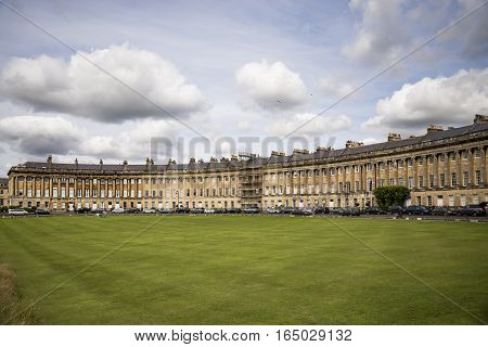 The Circus famous circular Royal Crescent building in Bath Somerset England.