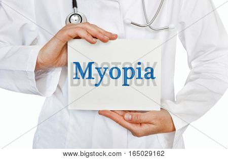 Myopia Card In Hands Of Medical Doctor