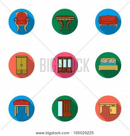 Furniture and home interior set icons in flat design. Big collection of furniture and home interior vector symbol stock illustration