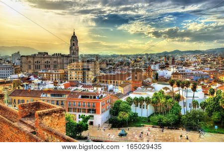 Scenic view of Malaga from the Alcazaba - Andalusia, Spain