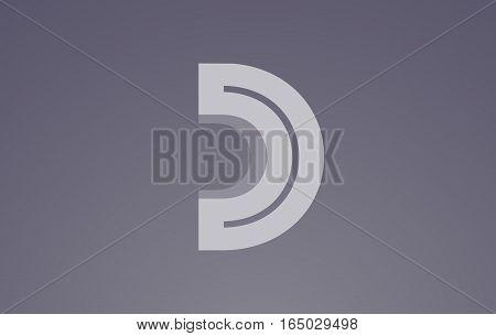 Alphabet letter D transparent white blue vector logo icon sign design template