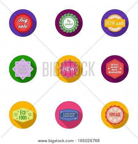 Label set icons in flat style. Big collection of label vector symbol stock