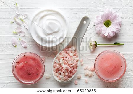Cosmetic Cream, Shower Gel, Body Scrub And Bath Salt