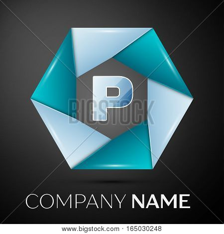 Letter P vector logo symbol in the colorful circle on black background. Vector template for your design