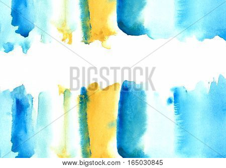 Blue and yellow watery frame .Abstract watercolor hand drawn illustration.Azure splash.White background.