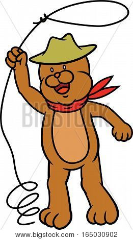 Teddy Bear Cowboy with Lasso Rope Cartoon Illustration Isolated on White