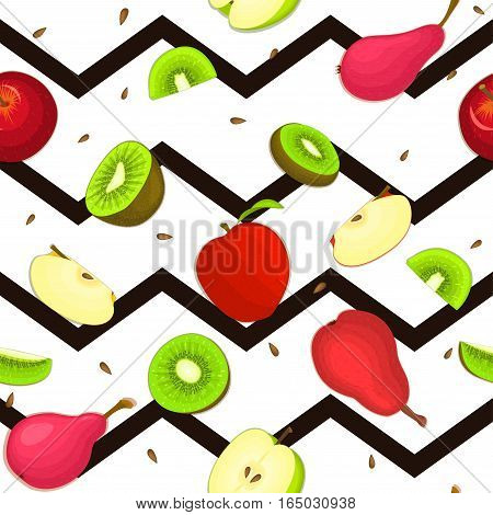 Seamless vector pattern of ripe pear, apple, kiwifruit. Striped zig zag background with delicious juicy pear apple kiwi slice half. Vecto fruit Illustration for printing on fabric textile, packaging