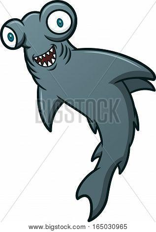 Wild Hammerhead Shark Cartoon Illustration Isolated on White
