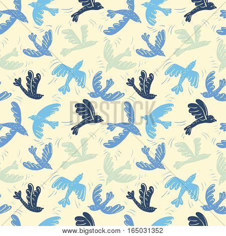 Cartoon vector silhouette flying birds seamless pattern. Animal decoration background