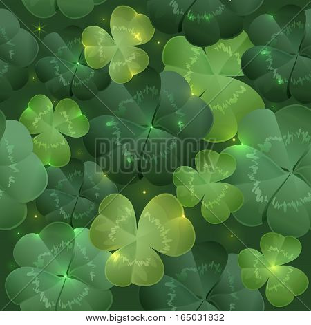 Green lush leaves clover seamless pattern. Illustration in vector format