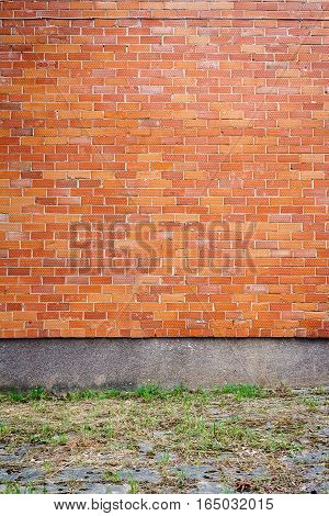 Red dotted brick wall background with green grass