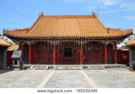 Main Palace of Imperial Ancestral Temple in Shenyang Imperial Palace (Mukden Palace), Shenyang, Liaoning Province, China. Shenyang Imperial Palace is UNESCO world heritage site built in 400 years ago.