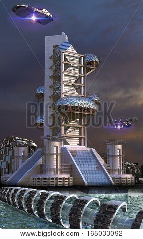 3D Illustration of futuristic architecture in an upper perspective angle with ovoid glass structures and drones flying, for fantasy or science fiction backgrounds