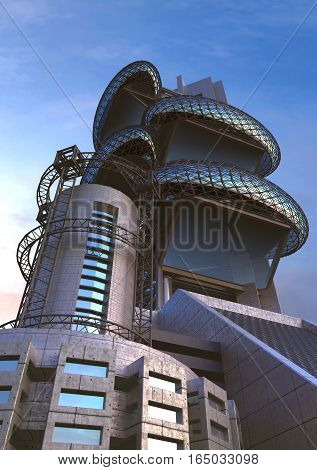 3D Illustration of futuristic architecture in an upper perspective angle with ovoid glass structures, for fantasy or science fiction backgrounds poster