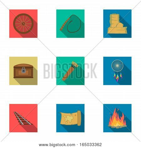 Wild west set icons in flat style. Big collection of wild west vector symbol stock