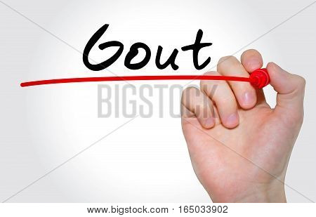 Hand Writing Inscription Gout With Marker, Concept