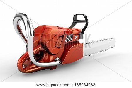 Chainsaw gasoline benzene power motor. 3D rendering poster