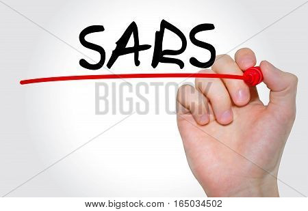 Hand Writing Inscription Sars With Marker, Concept