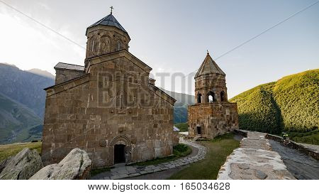 Gergeti, Georgia - August 5, 2015:  Tsminda Sameba / Holy Trinity Church near the Kazbegi-Gergeti village, Georgia.